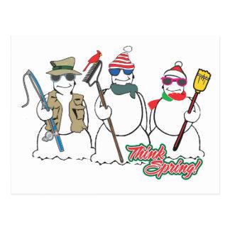 think spring snowmen postcard