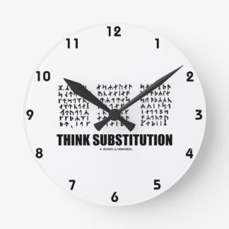 Think Substitution (Runic Cryptogram Jules Verne) Round Wallclock
