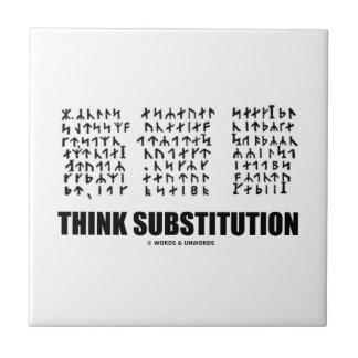 Think Substitution (Runic Cryptogram Jules Verne) Ceramic Tiles