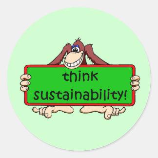 think sustainability classic round sticker