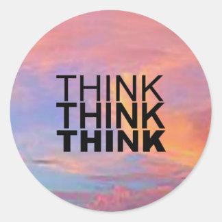 Think Think Think Classic Round Sticker