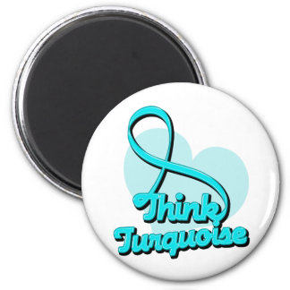 Think Turquoise Addiction Recovery 2 Inch Round Magnet