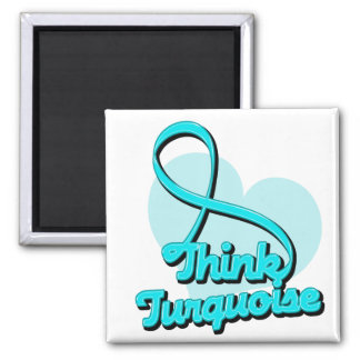 Think Turquoise Addiction Recovery 2 Inch Square Magnet