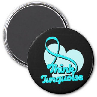 Think Turquoise Addiction Recovery 3 Inch Round Magnet