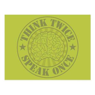 Think twice, speak once postcard