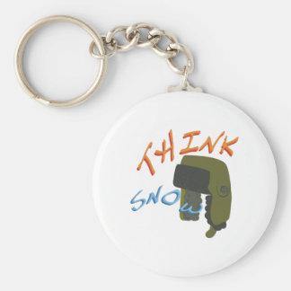 Think Ushanka Basic Round Button Keychain