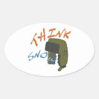 Think Ushanka Oval Sticker