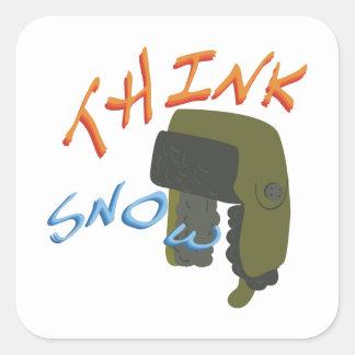 Think Ushanka Square Sticker
