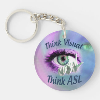 Think Visual Think ASL circle keychain Acrylic Keychain