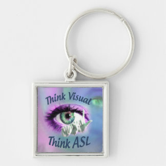 Think Visual Think ASL square keychain