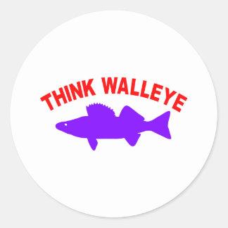 THINK WALLEYE CLASSIC ROUND STICKER