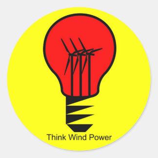 Think Wind Power Classic Round Sticker