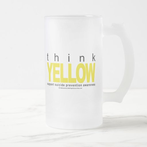 Think YELLOW Suicide Prevention 16 Oz Frosted Glass Beer Mug
