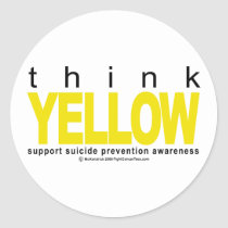 Think YELLOW Suicide Prevention Classic Round Sticker