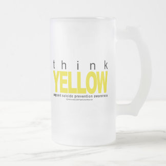 Think YELLOW Suicide Prevention Frosted Glass Beer Mug