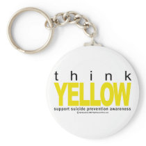 Think YELLOW Suicide Prevention Keychain