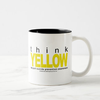 Think YELLOW Suicide Prevention Two-Tone Coffee Mug