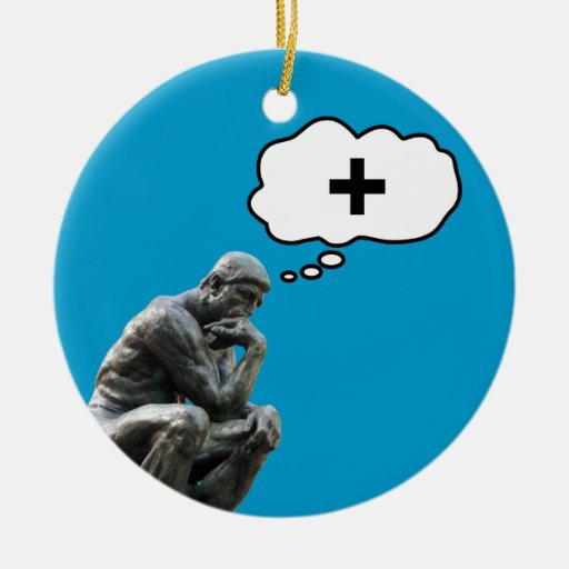 Thinker Statue - Think Positive Christmas Ornaments