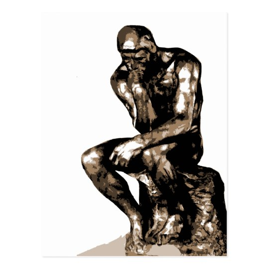 thinker without background 2 postcard