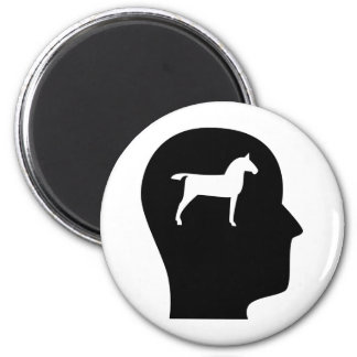 Thinking About Horses 2 Inch Round Magnet