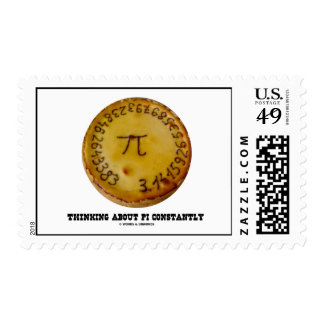 Thinking About Pi Constantly (Pi On A Pie) Postage