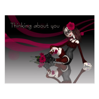 Thinking About You - Gothic Rag Doll With Roses Postcard