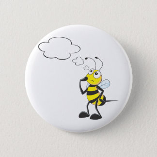 Thinking Bee with Thought Bubble Pinback Button
