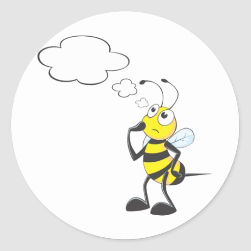Thinking Bee with Thought Bubble Round Stickers