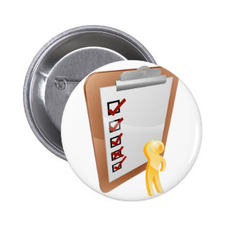 Thinking clipboard person buttons