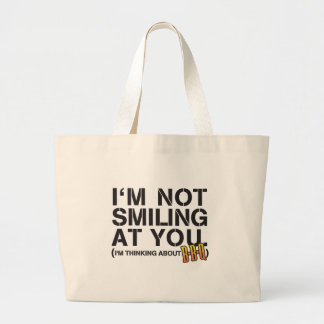 thinking dark large tote bag