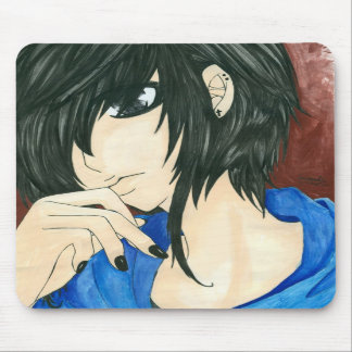 Thinking girl mousepad