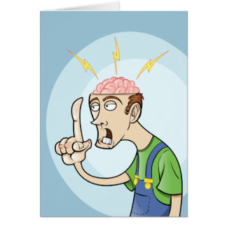 Thinking Guy with Exposed Brain Cards