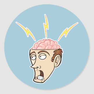 Thinking Guy with Exposed Brain Classic Round Sticker