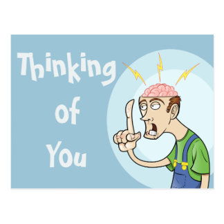 Thinking Guy with Exposed Brain Postcards