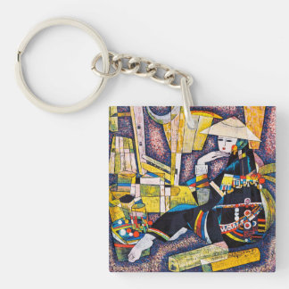 Thinking Hao Ping oriental abstract woman painting Keychain