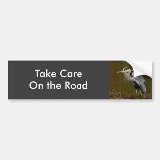 Thinking Heron Car Bumper Sticker