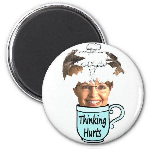 thinking hurts fridge magnet