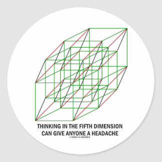 Thinking In Fifth Dimension Can Give A Headache Classic Round Sticker