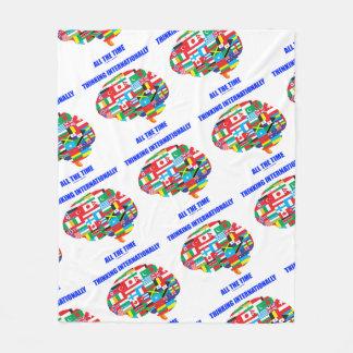 Thinking Internationally All The Time Flags Brain Fleece Blanket