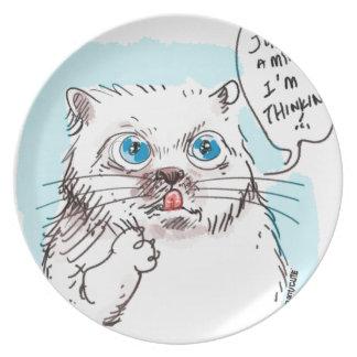 thinking kitty white plate