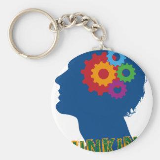 Thinking man basic round button keychain