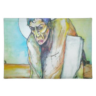 Thinking Man Holding a White Book Cloth Placemat
