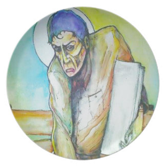 Thinking Man Holding a White Book Party Plates