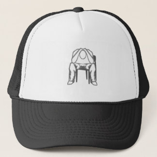 Thinking Man sitting in chair holding his head Trucker Hat