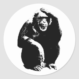Thinking Monkey Classic Round Sticker