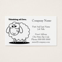 Thinking of Ewe Lamb Sheep Cute Cartoon Business Card