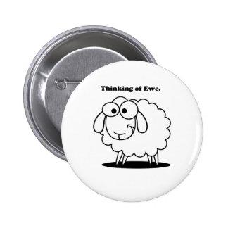 Thinking of Ewe Lamb Sheep Cute Cartoon Buttons