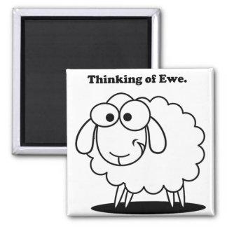 Thinking of Ewe Lamb Sheep Cute Cartoon Magnets