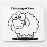 Thinking of Ewe Lamb Sheep Cute Cartoon Mouse Pads