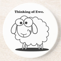 Thinking of Ewe Lamb Sheep Cute Cartoon Sandstone Coaster